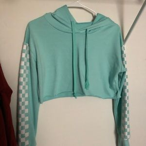 ROMWE teal checkered cropped sweatshirt